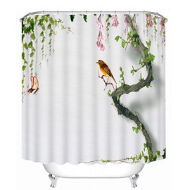 Little Bird Standing on the Tree Print 3D Bathroom Shower Curtain