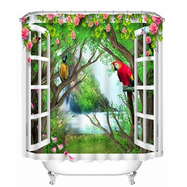 Colored Parrots Standing on the Tree out of the Window Print 3D Bathroom Shower Curtain