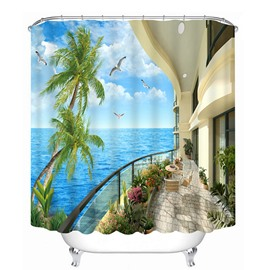 Blue Sky and Sea Seeing from Balcony Print 3D Bathroom Shower Curtain