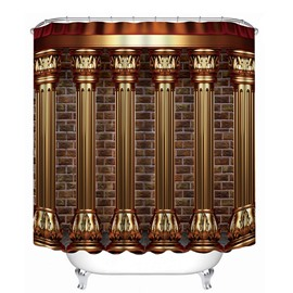 3D Roman Architecture Printed Polyester Brown Shower Curtain