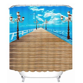 Blue Sky and Long Wooden Bridge Print 3D Bathroom Shower Curtain