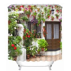 Various Flowers at the Door Print 3D Bathroom Shower Curtain
