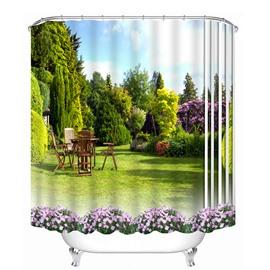 Beautiful Scenery of the Yard Print 3D Bathroom Shower Curtain