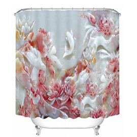 Jade Carving Flowers Pattern 3D Bathroom Shower Curtain