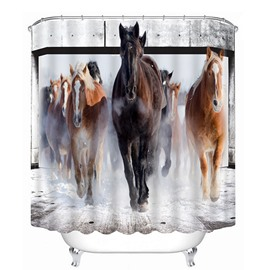 3D Running Horse Groups Printed Polyester Bathroom Shower Curtain