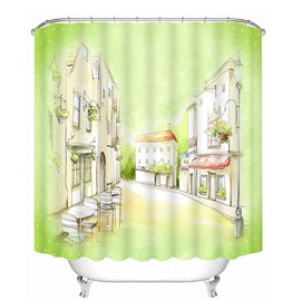 Hand-Painted Street View Print 3D Bathroom Shower Curtain