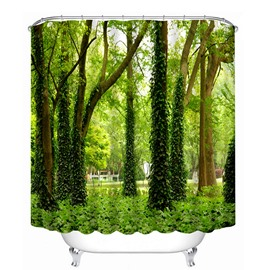 Green Trees and Grasses Print 3D Bathroom Shower Curtain
