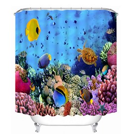 Colored Tropical Fishes Swimming in the Deep Sea Print 3D Bathroom Shower Curtain