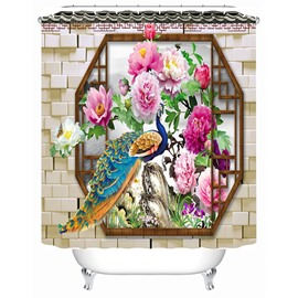 3D Peacock and Peony Printed Chinese Style Polyester Shower Curtain