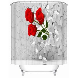 Three Red Roses Bursting through the Wall Print 3D Bathroom Shower Curtain