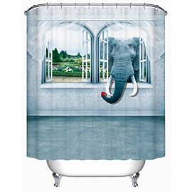 An Elephant Sticking Head out of the Window Print 3D Bathroom Shower Curtain