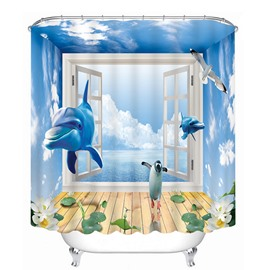Dolphin and Penguins Rushing out of the Window Print 3D Bathroom Shower