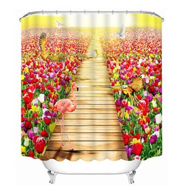 Flamingos and Colored Flowers Print 3D Bathroom Shower Curtain