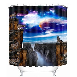 Wolves Howling at Night During the Full Moon Print 3D Bathroom Shower Curtain