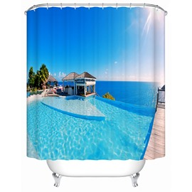 House by the Sea in the Sun Print 3D Bathroom Shower Curtain