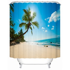 3D Beach and Coconut Tree Printed Polyester Blue Shower Curtain