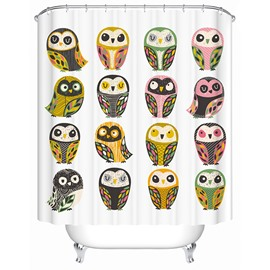 Various Cute Owls Print 3D Bathroom Shower Curtain