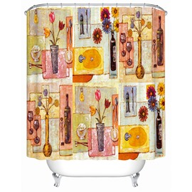 Three Art Splicing Print 3D Bathroom Shower Curtain