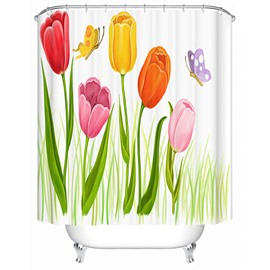 Colorful Tulips and Butterflies Print 3D Bathroom Shower Curtain