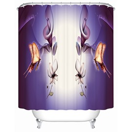 3D Butterflies and Lotus Printed Polyester Purple Shower Curtain
