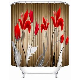 Cartoon Red Tulips Blooming Print 3D Bathroom Shower Curtain