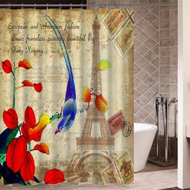 Blue Thrush in Paris Pattern Retro Poster Print 3D Bathroom Shower Curtain