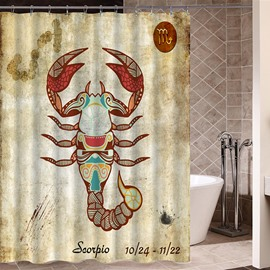 Exotic Scorpio Symbol Print 3D Bathroom Shower Curtain