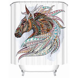 3D Colorful Horse Printed Polyester Bathroom Shower Curtain