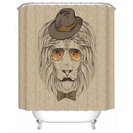 Clip Art Gentlemanly Lion with Hatter and Sunglasses Print 3D Bathroom Shower Curtain
