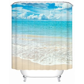 3D Beach and Blue Sky Printed Polyester Bathroom Shower Curtain