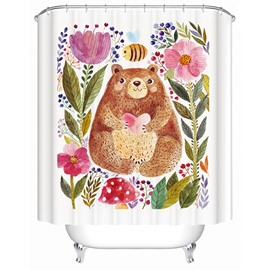 Cute Cartoon Bear and Flowers 3D Printing Bathroom Shower Curtain