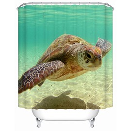 3D Swimming Sea Turtle Printed Polyester Light Blue Bathroom Shower Curtain