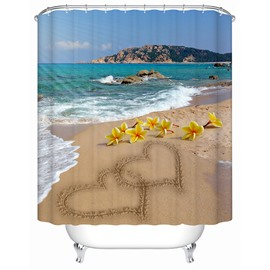 3D Heart Shape Sand Painting on the Beach Printed Polyester Shower Curtain