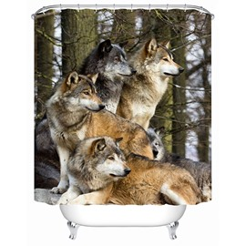 3D Mouldproof Wolfs Tribe Printed Polyester Bathroom Shower Curtain