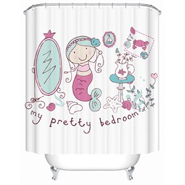 Cute Cartoon Mermaid Print 3D Bathroom Shower Curtain