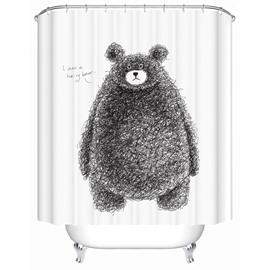 Cute Hand-Painted Cartoon Bear Print 3D Bathroom Shower Curtain