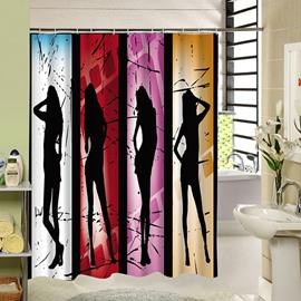 Four Sexy Lady Silhouette Print 3D Bathroom Shower Curtain
