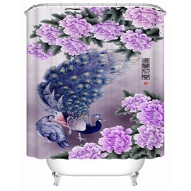 Luxury Peacock and Purple Peony Print 3D Bathroom Shower Curtain