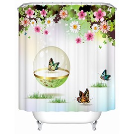 Lovely Little Butterflies Print 3D Bathroom Shower Curtain