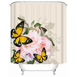 Decorative Butterfly and Rose Print 3D Bathroom Shower Curtain