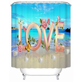 Sweet Love Print 3D Bathroom Shower Curtain