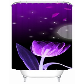 3D Purple Lotus and Stars Printed Polyester Shower Curtain