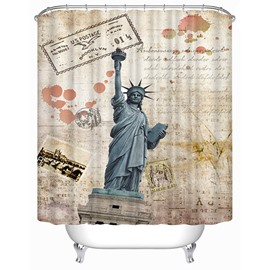 The Statue of Liberty Panorama Print 3D Bathroom Shower Curtain