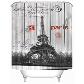 Eiffel Tower Panorama Print 3D Bathroom Shower Curtain