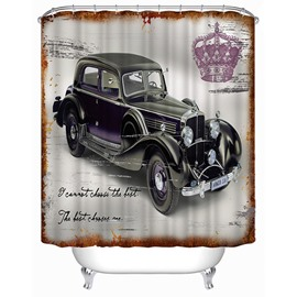 Retro Vintage Car Print 3D Bathroom Shower Curtain