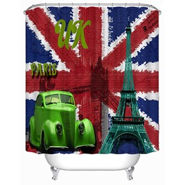 European Style United Kingdom Flag Print 3D Bathroom Shower Curtain