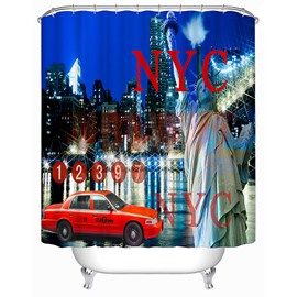 New York at Night Print 3D Bathroom Shower Curtain