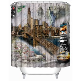 Classic Street Buildings Print 3D Bathroom Shower Curtain