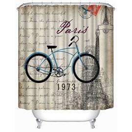 Blue Bicycle in Paris Print 3D Bathroom Shower Curtain