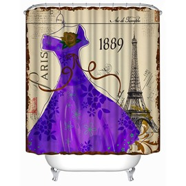 3D Purple Vintage Dress Printed Polyester Shower Curtain